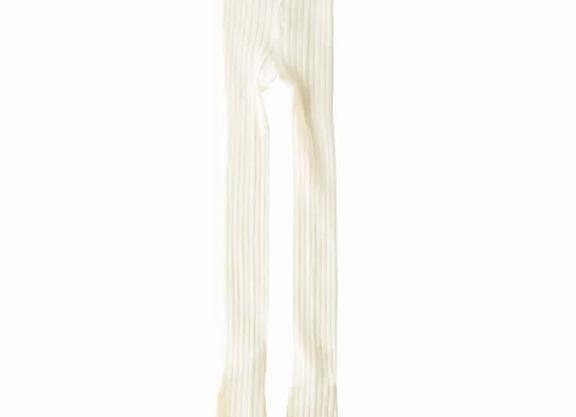Newness cream ribbed tights