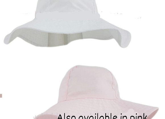 White/pink floppy sun hat