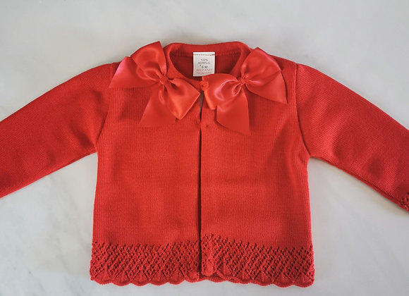 Bow red cardigan