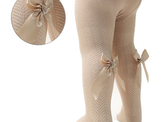 Beige bow tights