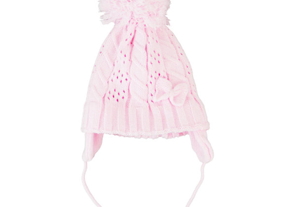 Pink or Cream knit bow hat