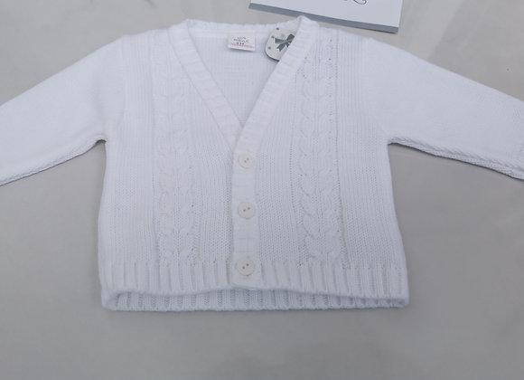 White knit baby cardigan