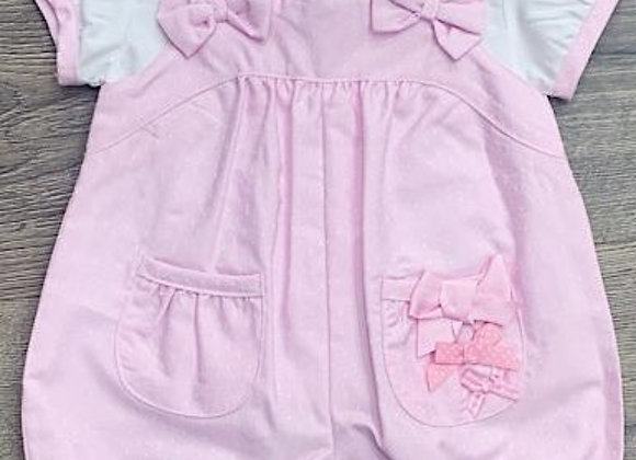 Baby pink bow dungarees
