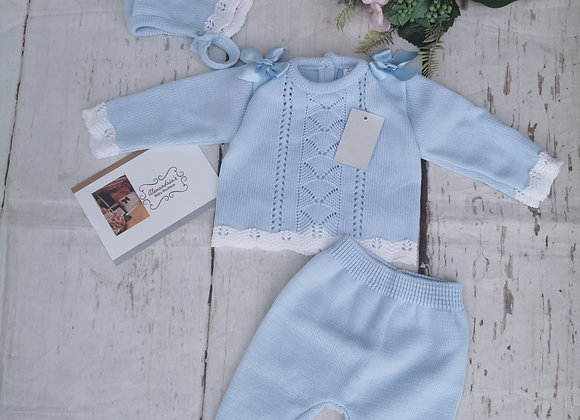 Double bow blue knit