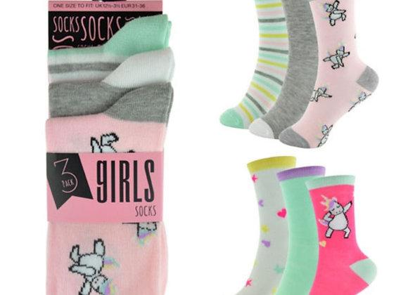 Older girls 3pk unicorn socks