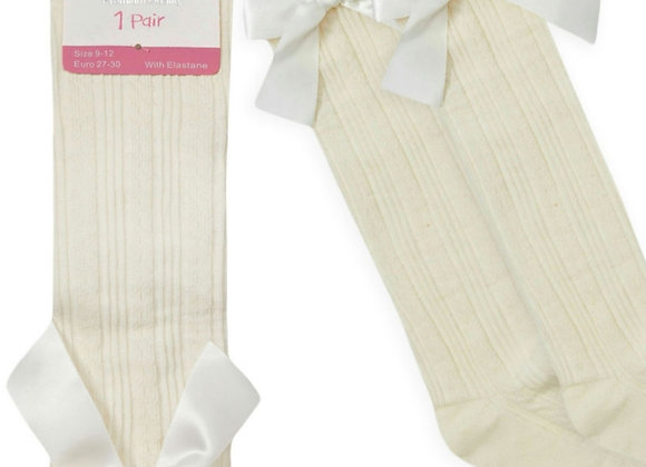 Cream bow socks