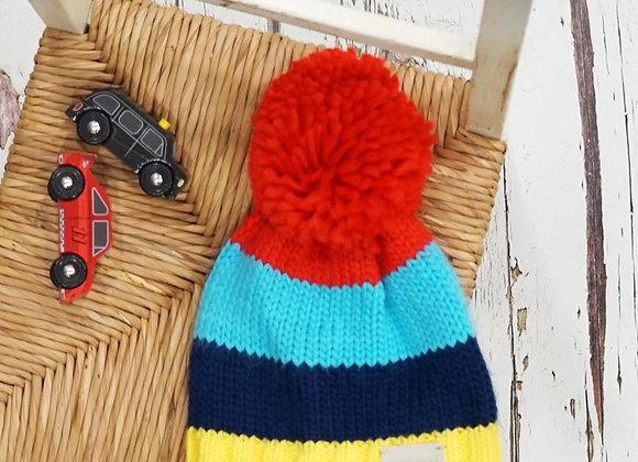 Blade & Rose Bright stripe bobble hat