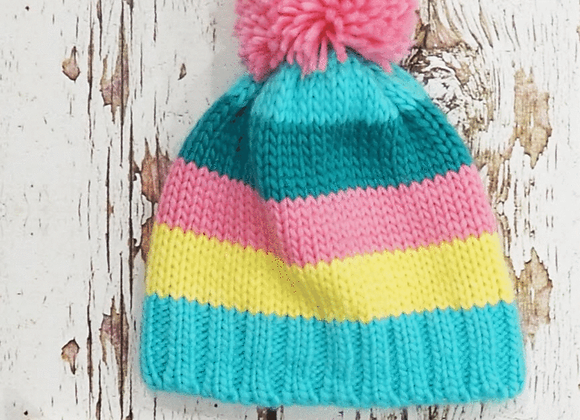 Blade & Rose pastel stripe bobble hat
