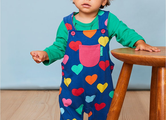 Toby tiger Multi hearts dungarees