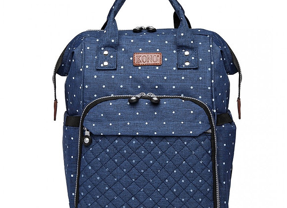 KONO WIDE OPEN DESIGNED BABY DIAPER CHANGING BACKPACK DOT - NAVY
