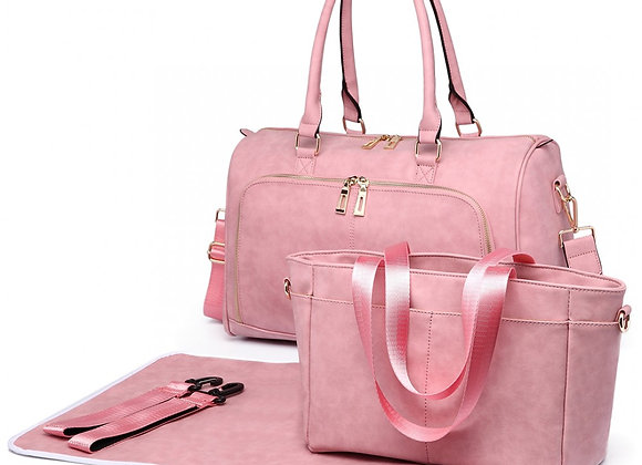 MISS LULU LEATHER LOOK MATERNITY CHANGING SHOULDER BAG PINK