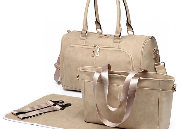 MISS LULU LEATHER LOOK MATERNITY CHANGING SHOULDER BAG BEIGE