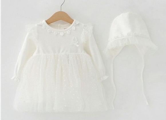 Off white Tulle dress & bonnet