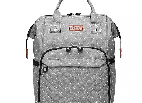 KONO WIDE OPEN DESIGNED BABY DIAPER CHANGING BACKPACK DOT - GREY