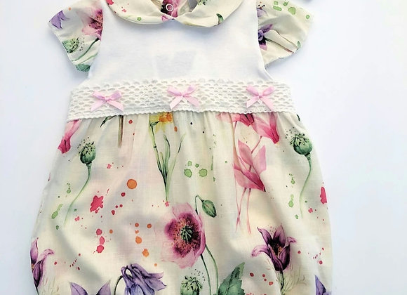 Floral romper (with hairband)