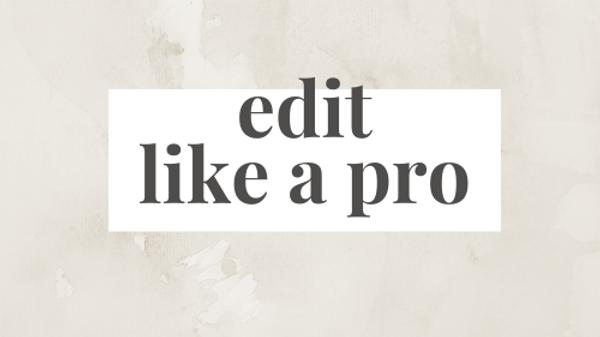 Cursus Edit Like A Pro