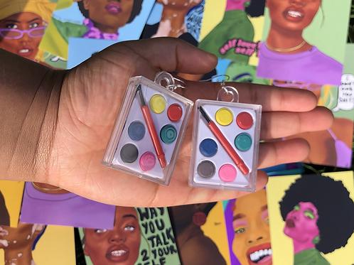 Watercolour paint pallet earrings