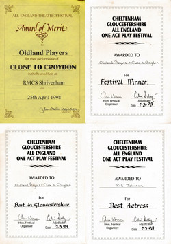 Close to Croydon - certificates