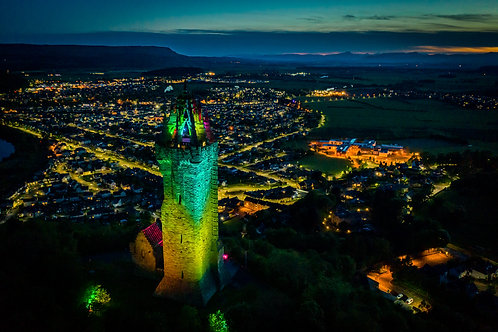 Wallace Monument rainbow night