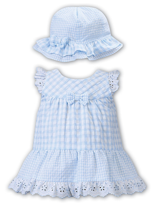 Blue Gingham Dress and Hat Set