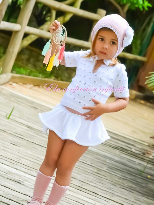 Baby ELA White Skirt set
