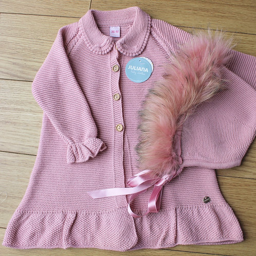 Dusky Pink Cardigan and hat
