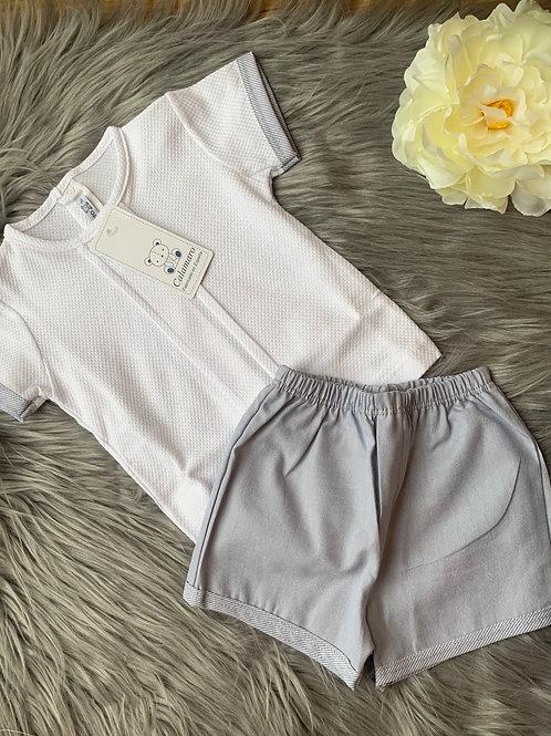 Josh Grey and white Shorts Set