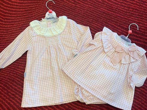 Babidu Baby Pink Check Dress