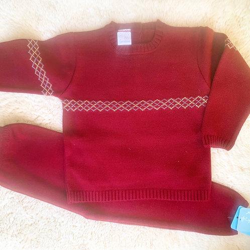Timmy Burgundy Knit Tracksuit