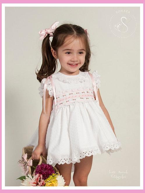 Blanca Sonata White and Pink smock dress
