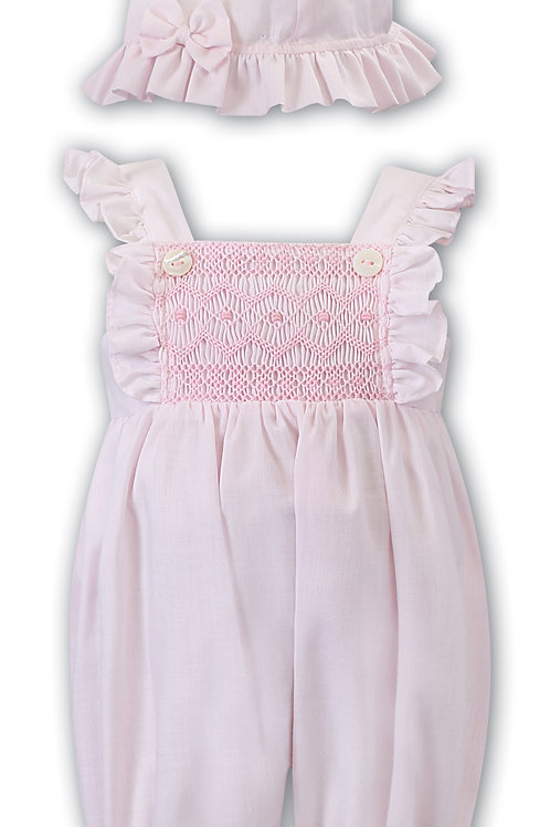Pink Smocked Bubble and Hat Set
