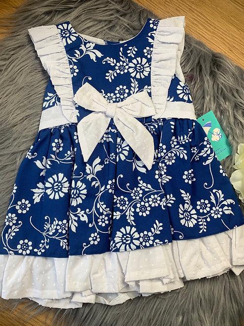 Eliza navy and white bow dress