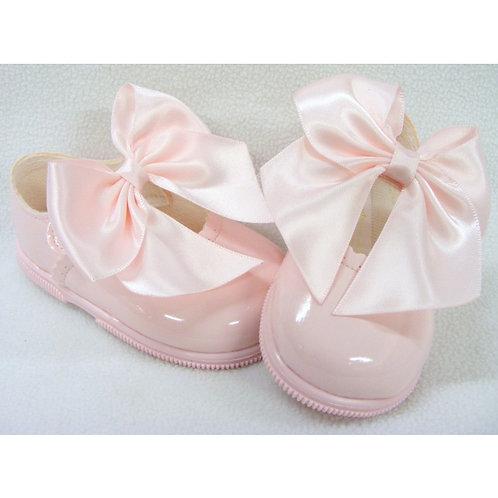 Hard Sole Baby girls large Bow shoes
