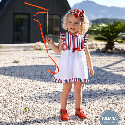 Lara Red & White Stripe Dress