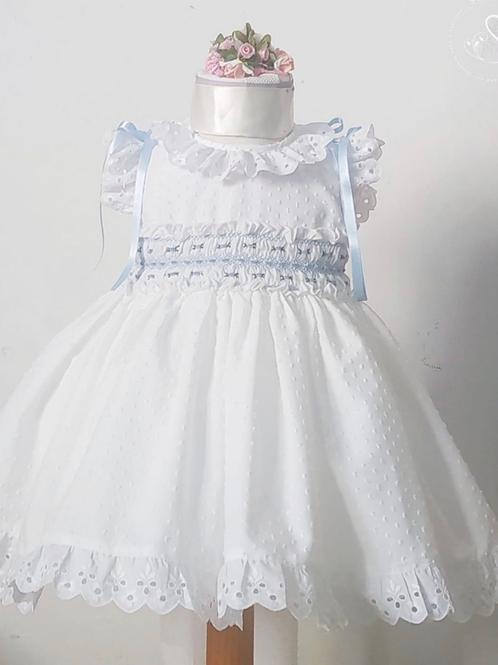 Daisy White and Blue Sonata Smock Dress