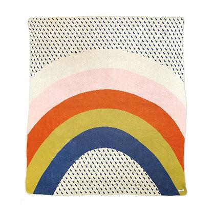 Calhoun & Co - Rainbows and Raindrops Knit Throw Blanket