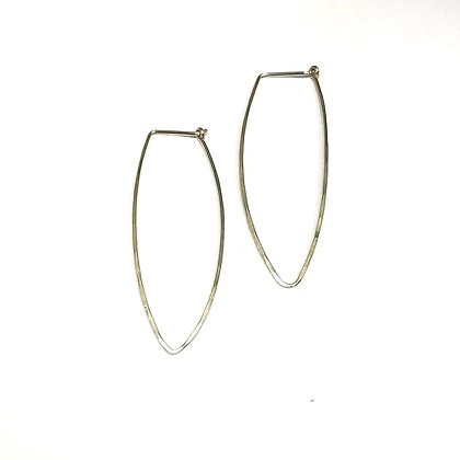 Jessica Russell - Long Oval Hoops - Sterling - Large