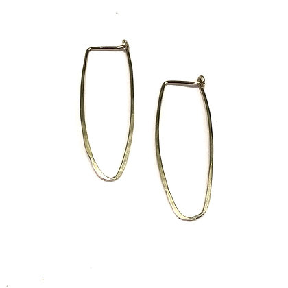 Jessica Russell - Long Oval Hoop - Sterling - Small