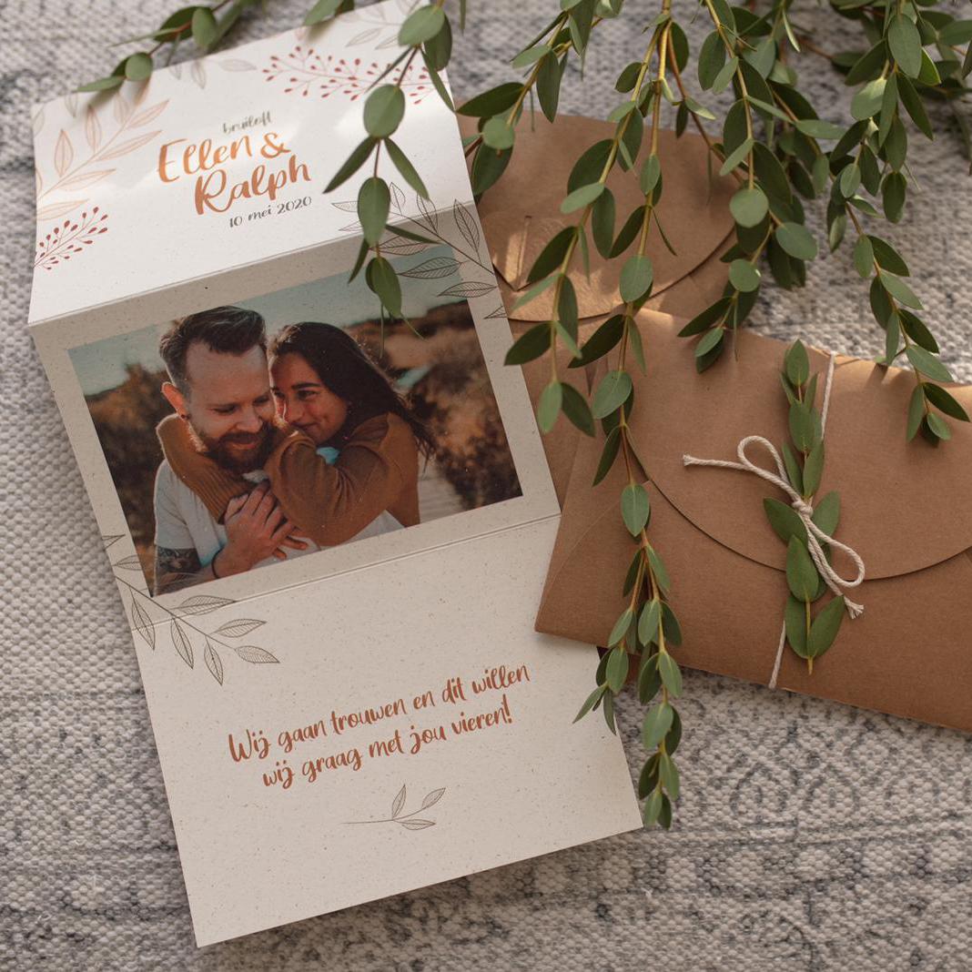 Huwelijks uitnodiging Ellen & Ralph