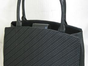 「トレス織と牛革で作ったブラックフォーマルバッグ」