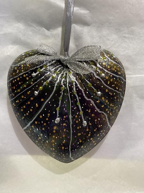 Black & Silver Rustic Wooden Heart