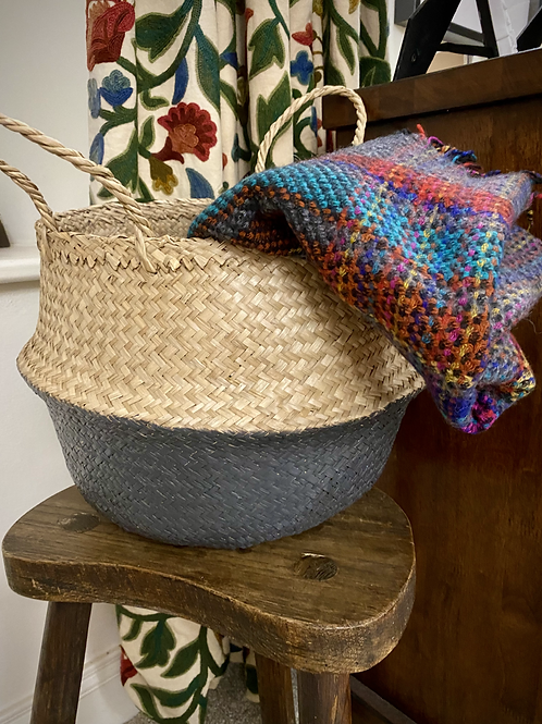 Grey Dipped Seagrass Basket