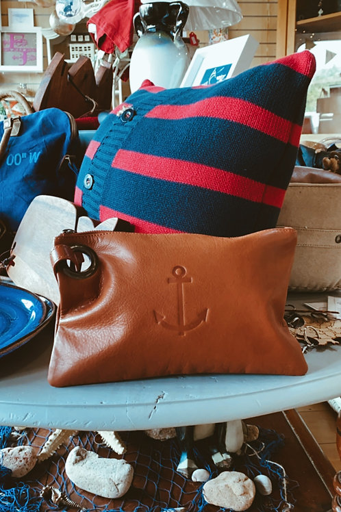 Tan Leather Anchor Clutch Bag