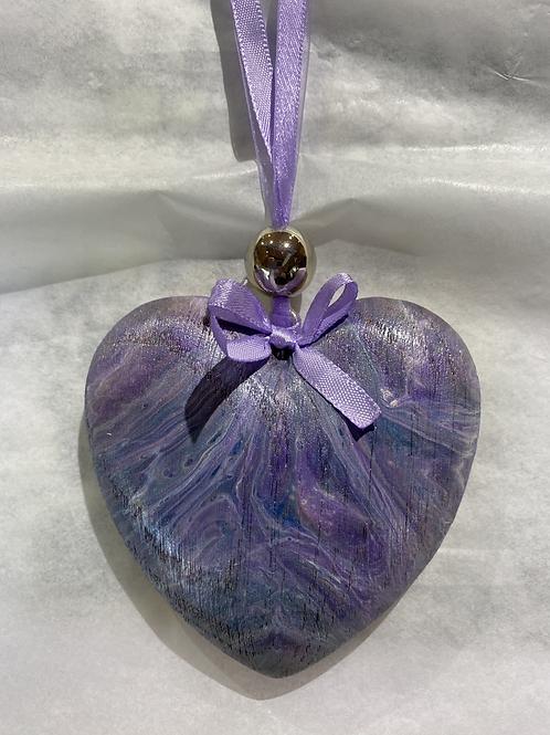 Purple Rustic Wooden Heart