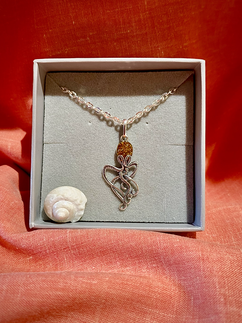 Silver Amber Octopus Pendant Necklace