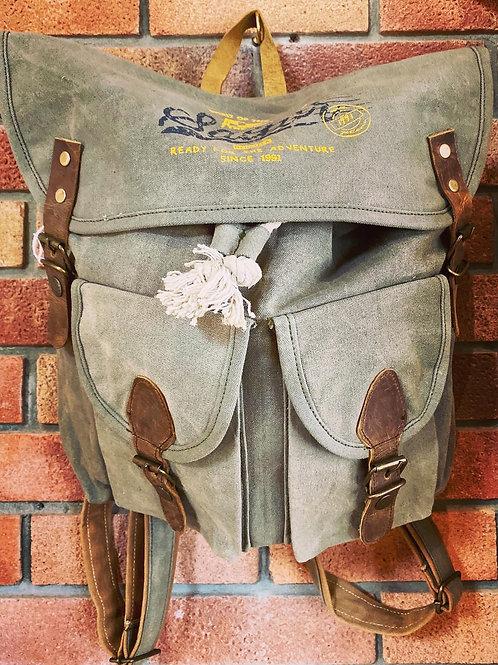 Khaki Canvas Back Pack Rucksack
