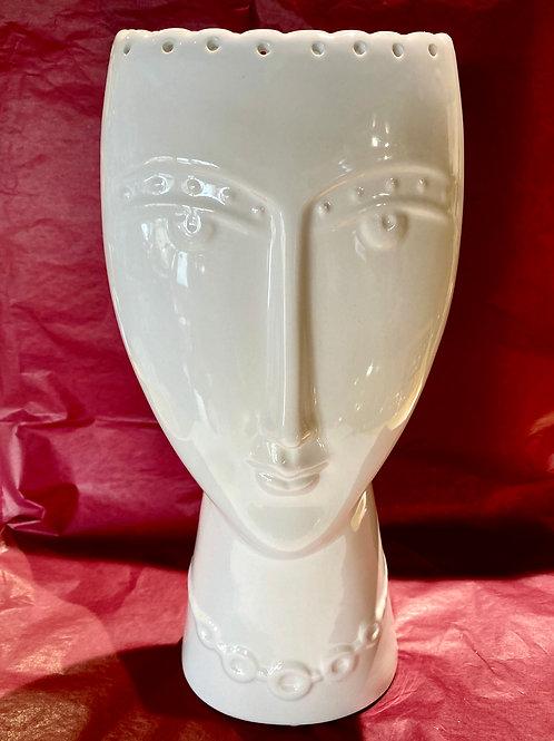 White Ceramic Lady Vase
