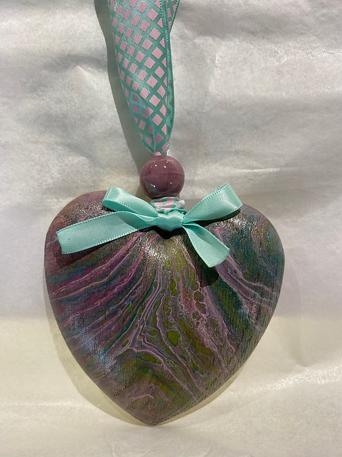 Green & Purple Rustic Wooden Heart