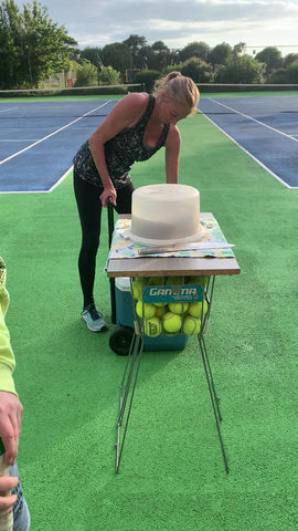 Heather happy birthday on court Ladies Night Tuesday 2206.2021