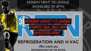 Monday night 3's league starts 31st July 2017